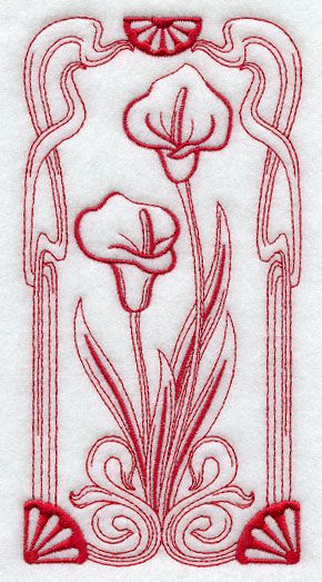 Art Nouveau Calla Lily Redwork Embroidery From