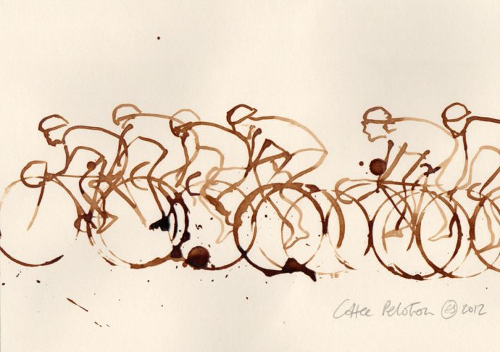 coffee peloton, illustration de Eliza Southwood. #vélo #bike