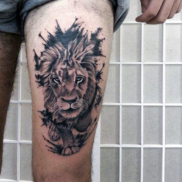 30 Lion Leg Tattoo Designs For Men Big Cat Ink Ideas Lion Tattoo On Thigh Leg Tattoos Tattoo Designs Men