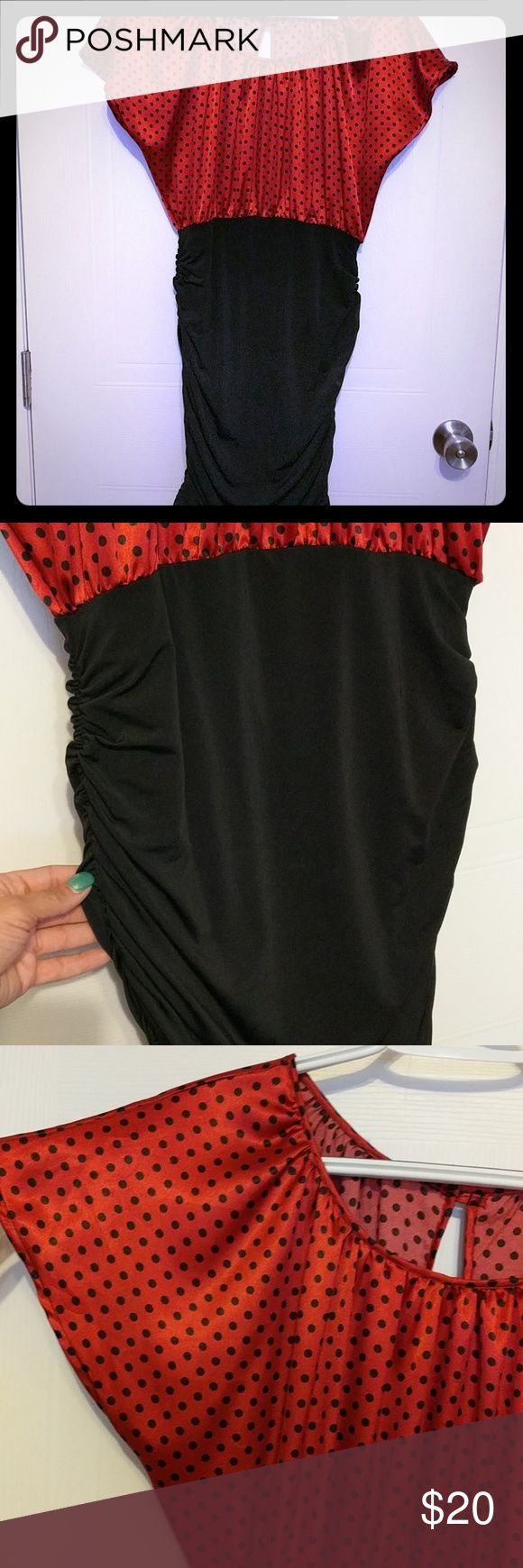 Polka dot club dress Black n red polka dot dress,  rouched mini skirt, empire waist.  Can be worn with a denim jacket to dress down or with heels for a night out.  Can be worn with flats or heels or boots. Dresses Mini