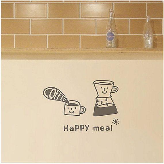 Happy Meal parete grafica vinile autoadesivo di verryberrysticker