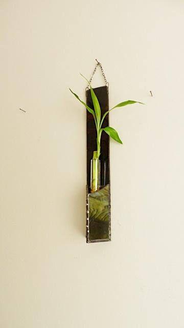 Panneau de vitrail bambou Tenture murale brun foncé et