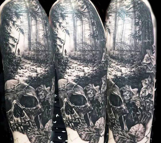 Dark Forest tattoo by Zsofia Belteczky