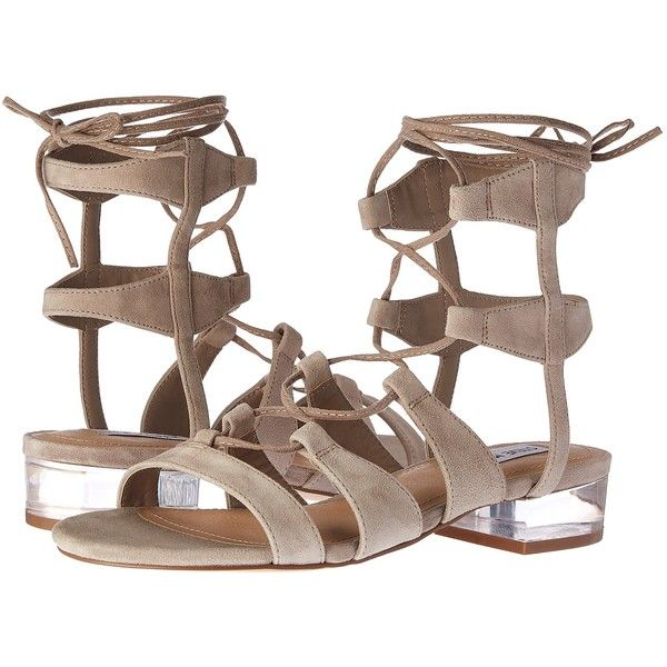 Steve Madden Chely (Taupe Suede) Women's Shoes (865 ZAR) ❤ liked on Polyvore featuring shoes, sandals, taupe, lace-up gladiator sandals, clear sandals, steve madden shoes, steve madden sandals and lace-up sandals