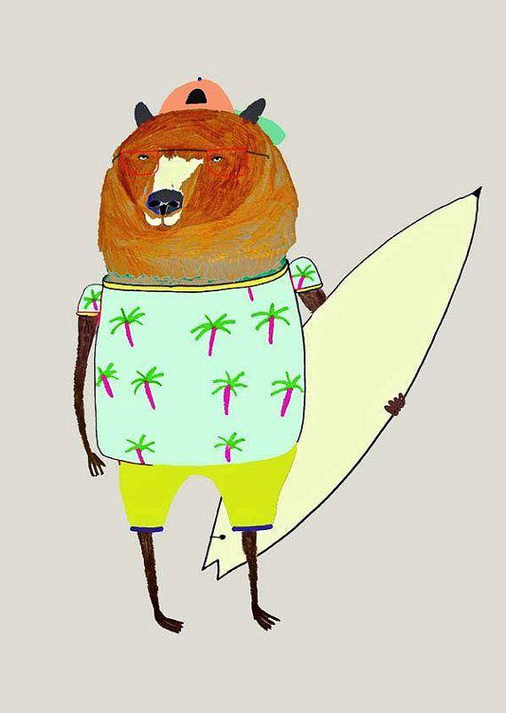 Surfer Dude Bear. surfer print wall art kids art by AshleyPercival