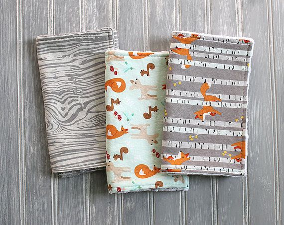Fox, Deer, Woodland Burp Cloth Set - Set of 3 Minky Dot Burp Cloths - Gray Woodgrain, Mint Fox, Deer, Woodland Animals, Gray Fox Burp Cloths