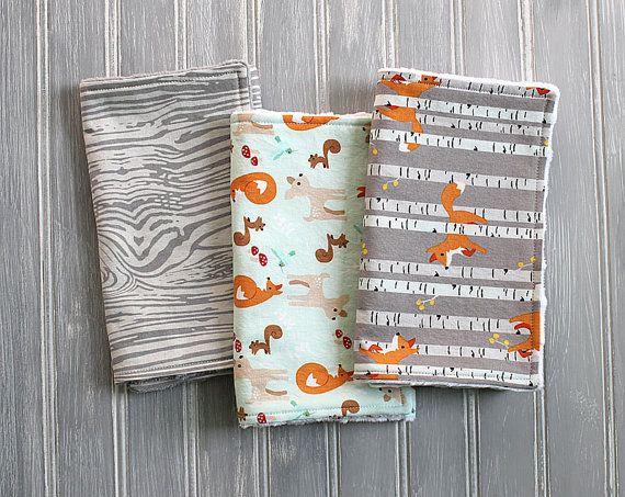 Fox Deer Woodland Burp Cloth Set  Set of 3 by YetiBearBoutique