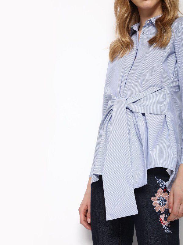koszula długi rękaw damska w paski, z aplikacją niebieska - SKL2310 TOP SECRET