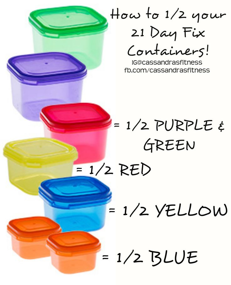 How to 1/2 your 21 Day Fix Containers.  www.facebook.com/cassandrasfitness