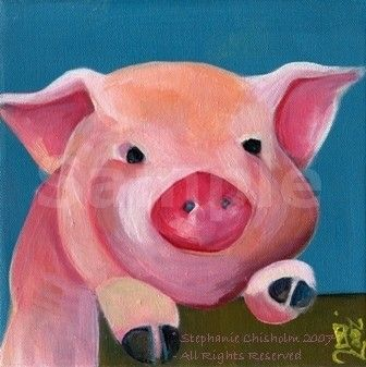 PiG Art  MATTED Art Print  Cute Pink PiG  Piggy Fence  by ArtChiz, $20.00