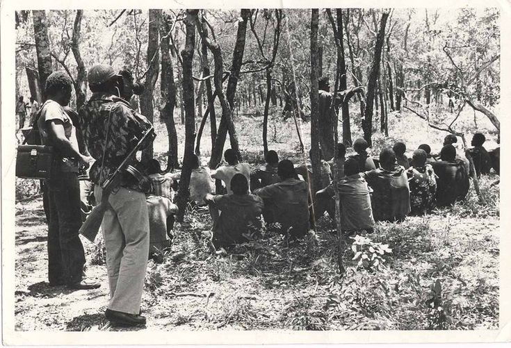 General Josiah Magama Tongogara had the responsibility of recruiting young Zimbabweans in Zambia into ZANU and select some for military training. In this picture, he is seen giving instructions to some of the recruits