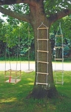 Wooden tree swings .