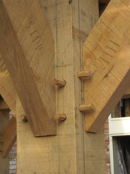 Timber framing joint clash.