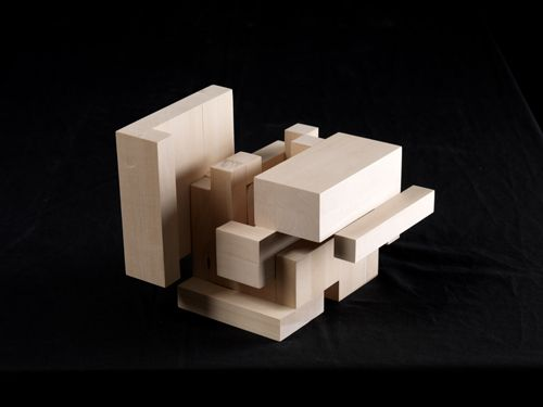 Perspective of cube model in open position.