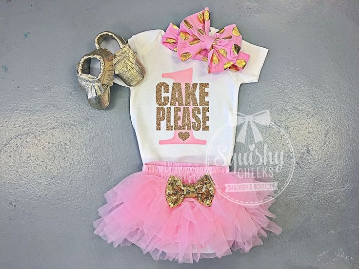 Cake Please Shirt, Pink and Gold 1st Birthday Shirt Short or Long Sleeves, Smash Cake Outfit Girls 1st Birthday Outfit, 1st-6th Birthday by BabySquishyCheeks on Etsy https://www.etsy.com/listing/263770315/cake-please-shirt-pink-and-gold-1st