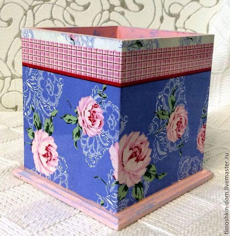 Карандашница - розовый,карандашница декупаж,интерьер,подарок,подарок женщине