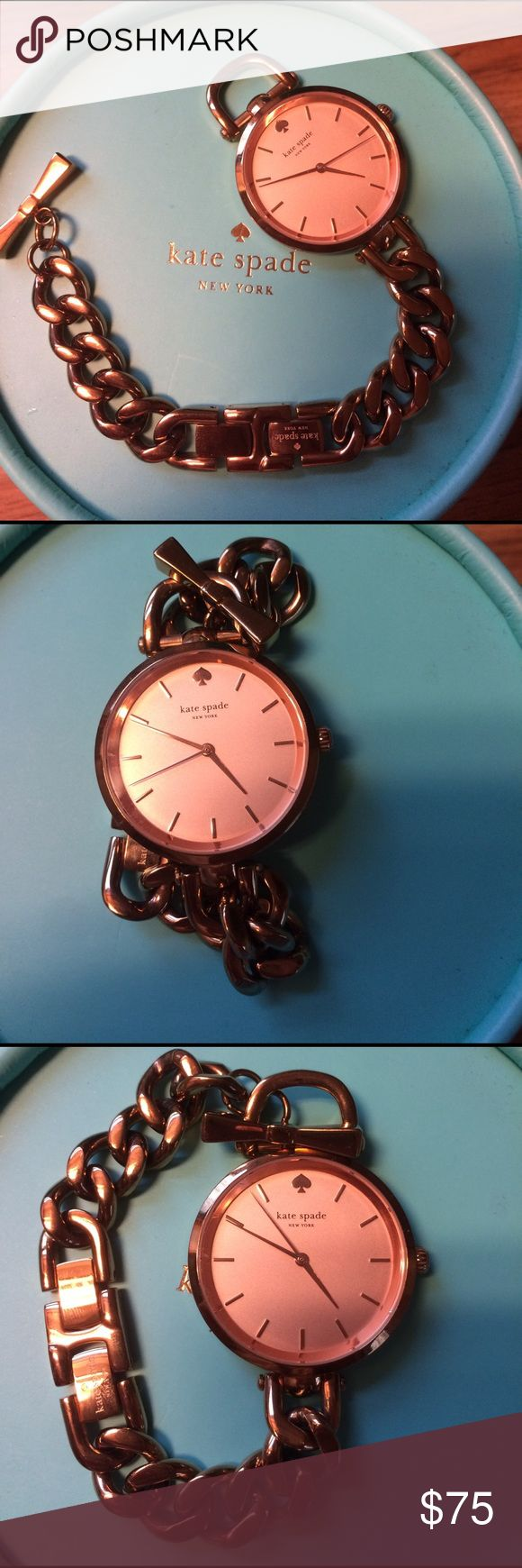 Kate Spade Watch Rose gold watch with additional links, easy to take on and off. Bracelet like watch with bow clasp. kate spade Jewelry