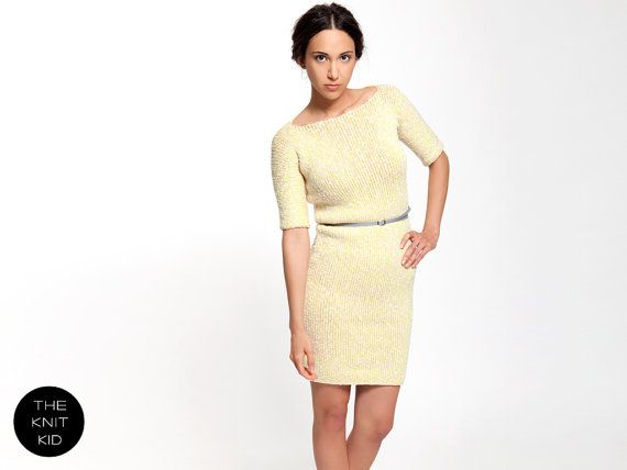 knit dress cream off white neon yellow cotton boat by THEKNITKID