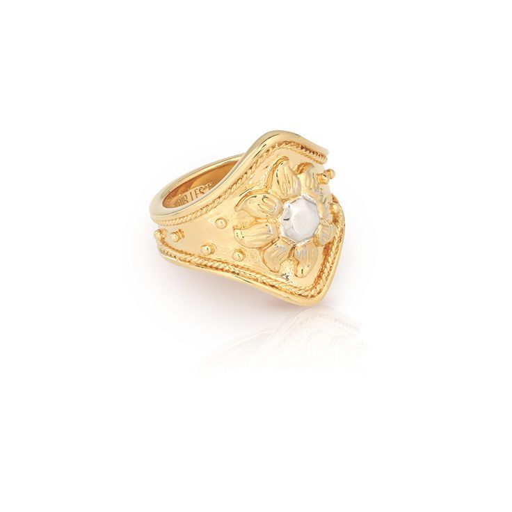 Gold cocktail statement ring with sun motif in silver   DAWN RING   Gold plated with silver accent   Au Revoir Les Filles   Click to shop now