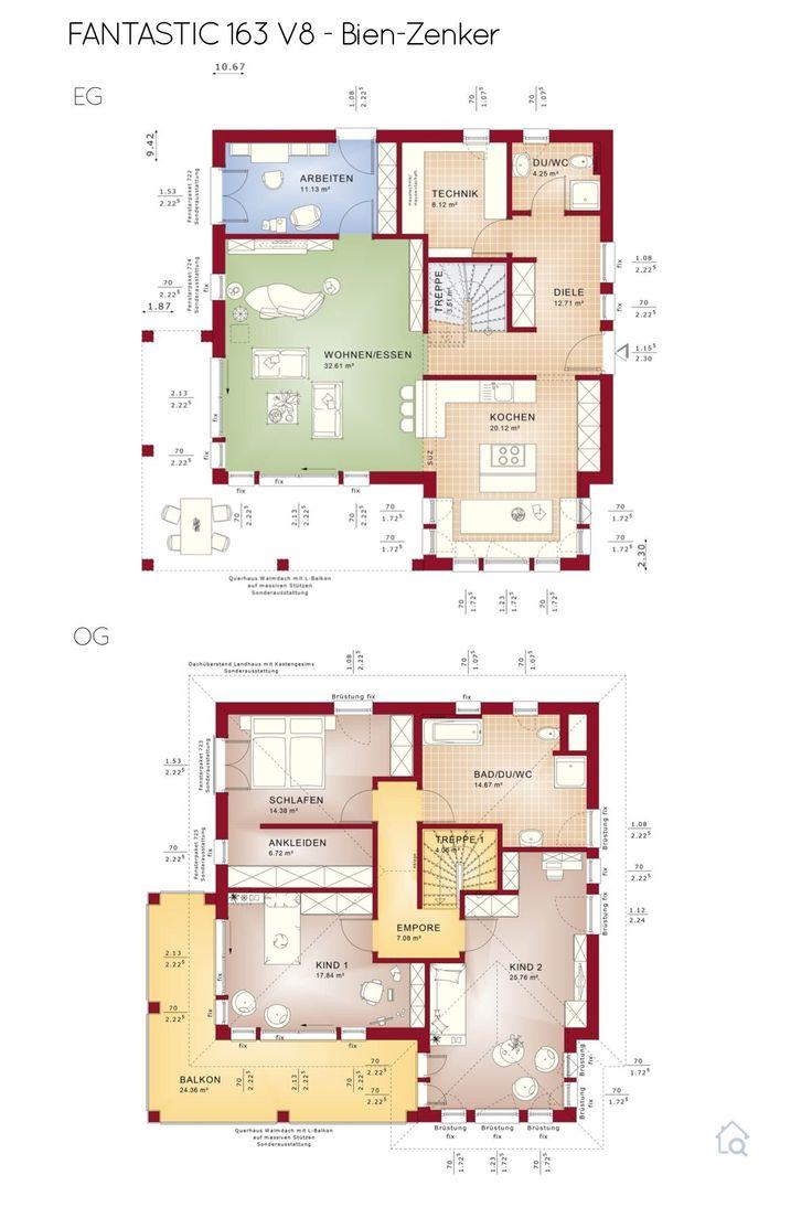 Grundriss Stadtvilla modern mit Flachdach 5 Zimmer, 165