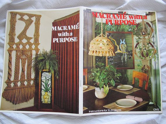 Great selection of 15 macrame patterns for home accessories. Includes patterns for a spice rack, bathroom accessories, lamp covers, magazine holders, etc. 1977 edition. 19 pages. Very good condition. No tears, no odours.  All items are shipped via Canada Post letter mail. Shipping does