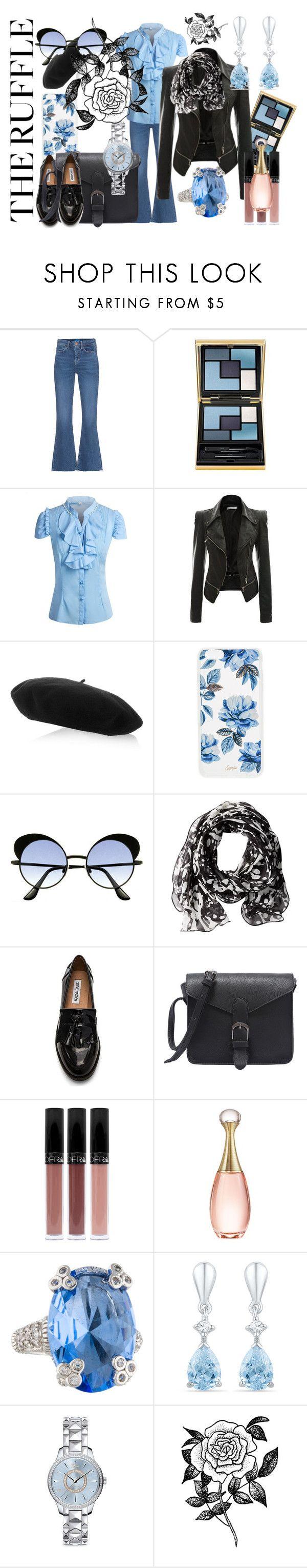 """""""volánky všude"""" by patkova-v ❤ liked on Polyvore featuring Barneys New York, M.i.h Jeans, Yves Saint Laurent, Gucci, Sonix, Calvin Klein, Steve Madden, Christian Dior, Judith Ripka and Forever 21"""
