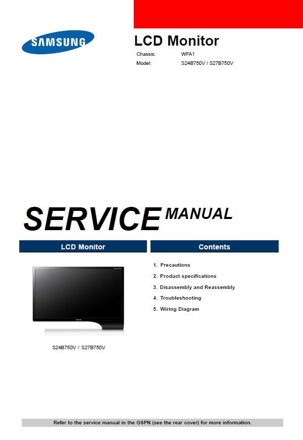 Samsung Syncmaster S24b750v S27b750v Monitor Service Manual Electronic Circuit Projects Repair Guide Samsung