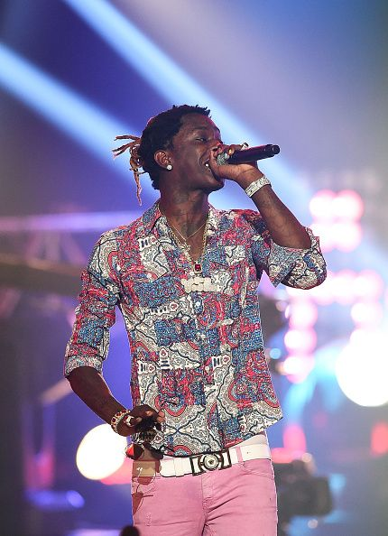 Rapper Young Thug performs during the BET Hip Hop Awards 2014 at Boisfeuillet Jones Atlanta Civic Center on September 20 2014 in Atlanta Georgia