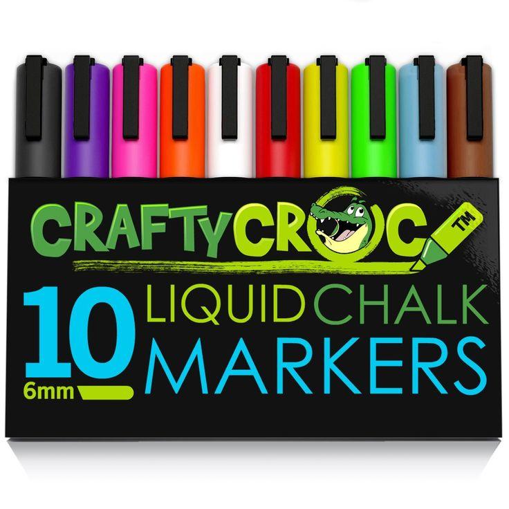 Amazon.com: CHALK MARKERS - MEGA 10 Pack - Each Premium Quality Pen With Unique Reversible Tip