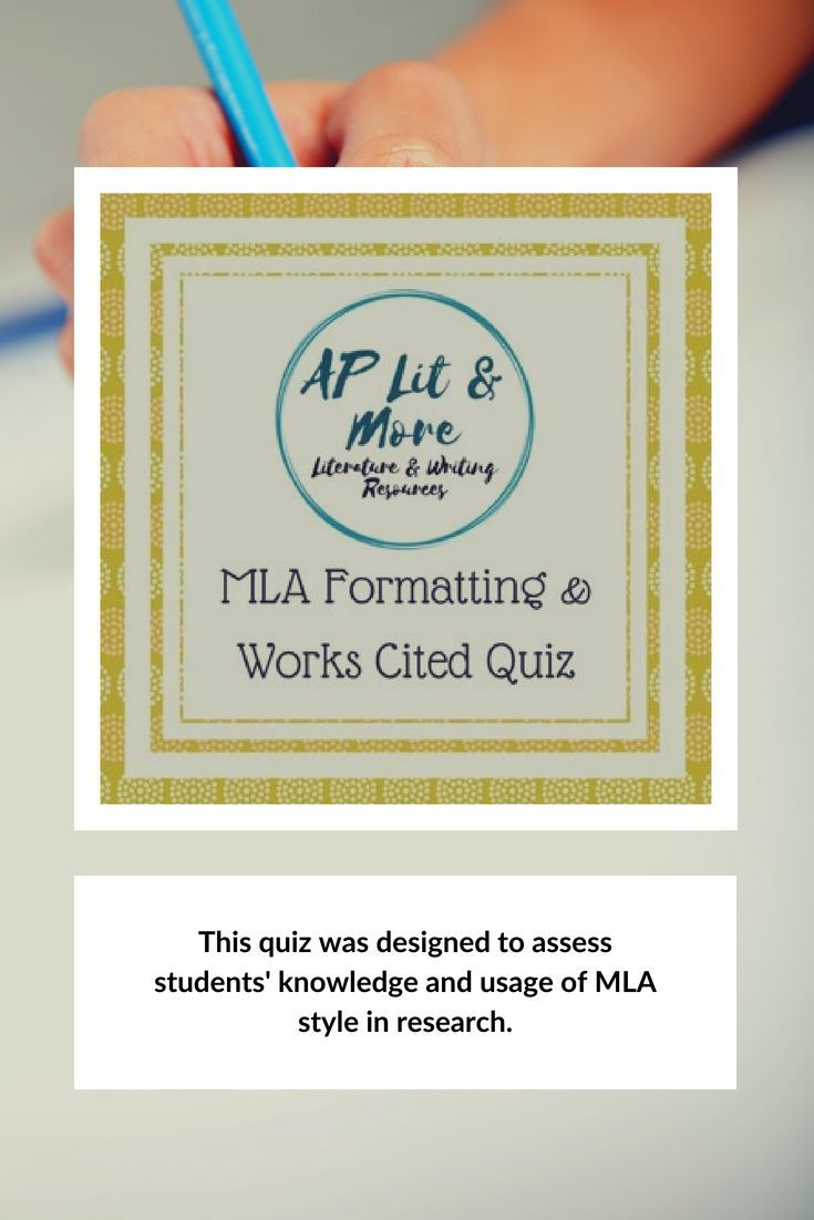 Mla Citations And Works Cited Quiz Grades 9 12 Teaching Writing