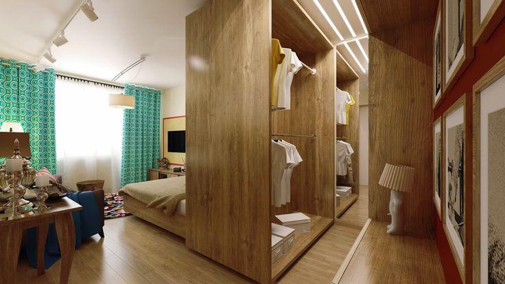 интерьер спальни-гостиной 18 кв. м.