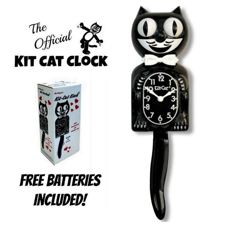 "CLASSIC BLACK KIT CAT KLOCK 15.5"" Free Battery MADE IN USA Official Clock NEW #CaliforniaClockCompany #Retro"