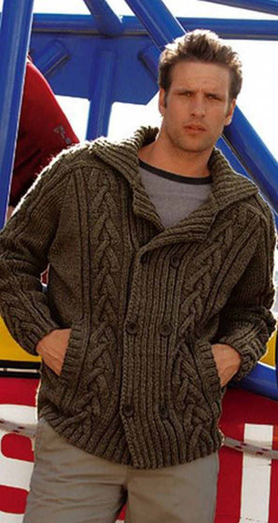 MADE TO ORDER men hand knitted cardigan turtleneck sweater