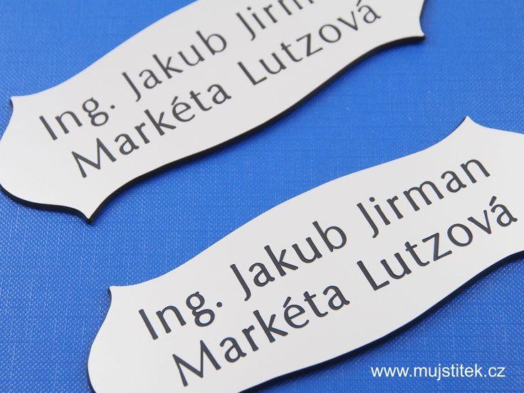 Plastové jmenovky s rytím ... http://www.mujstitek.cz/plastove-jmenovky/89-plastova-jmenovka-na-dvere-stribrna-typ-h.html