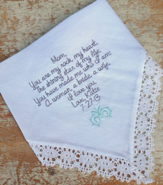 Mom from Bride Wedding heirloom handkerchief custom embroidered personalized hankie gift embroidery parents on Etsy, $30.00