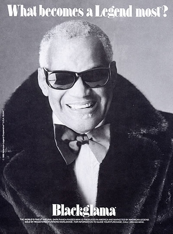 "Ray Charles - Blackglama Mink ""What Becomes A Legend Most?"" Ad Campaign (1990)."