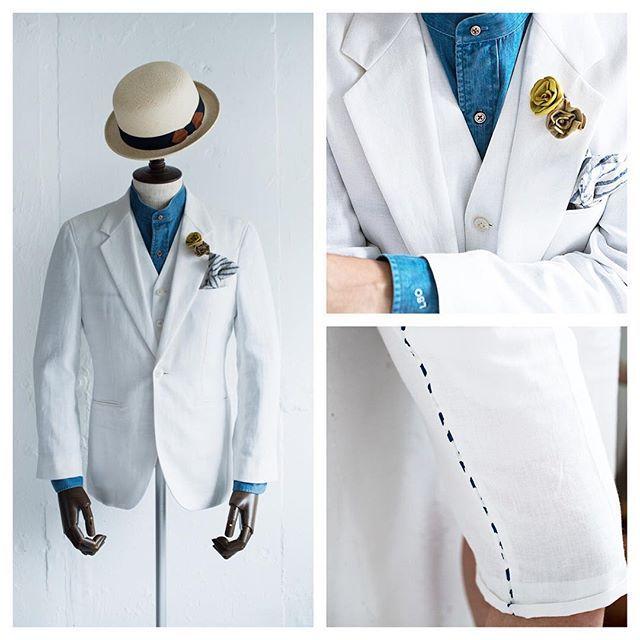 リゾートウェディングの新郎衣装,ホワイトリネンのショートパンツスタイル