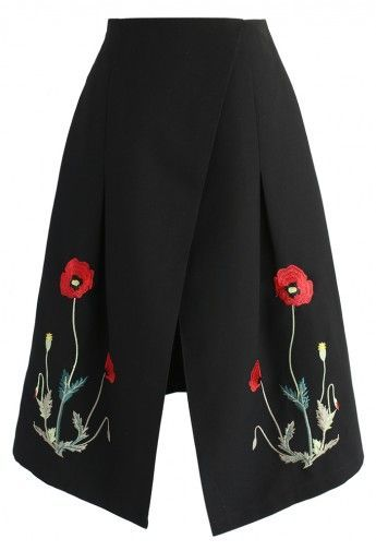 Wild Poppy Embroidered Flap Skirt