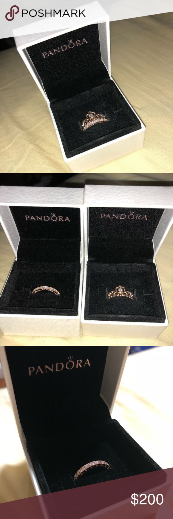 Rose Gold Pandora Rings Rose Gold Princess ring sz 4.5 Rose Gold Hearts of Pandora ring sz 4.5 Want to get around what I paid for so its more expensive than i got it for since not all the money goes to the seller. If you would like to get them for around $180 maybe we can work something else out like a paypal ordeal if you inquire :) Pandora Jewelry Rings