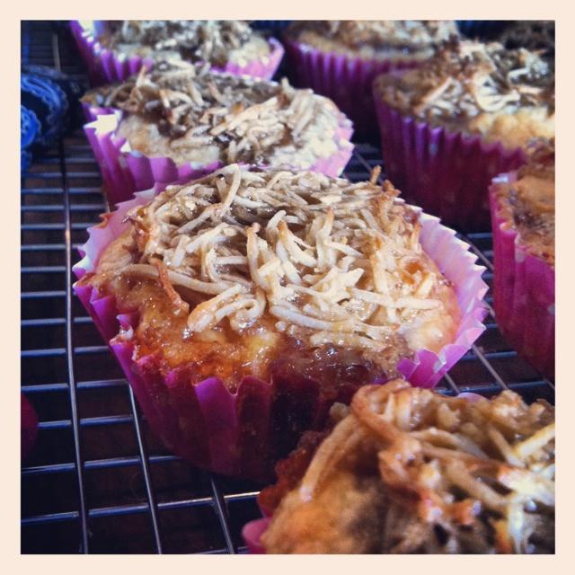 Rhubarb & coconut muffins