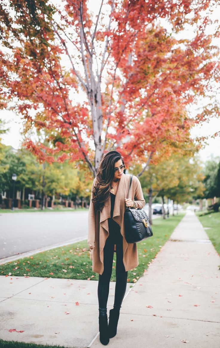 OCTOBER 2, 2017 CAMEL CARDIGAN + FIGURE FLATTERING FAUX LEATHER LEGGINGS REVIEW (& ON SALE!) - OUTFIT DETAILS: Cardigan: Halogen | CAMI: Express | FAUX LEATHER LEGGINGS: Spanx | BOOTIES: very old | NECKLACES: c/o The Styled Collection | WATCH: Nixon | SUNGLASSES: Ray-Ban | HANDBAG: Gucci (Maxi size) | LIPS: 'Hypnotic'
