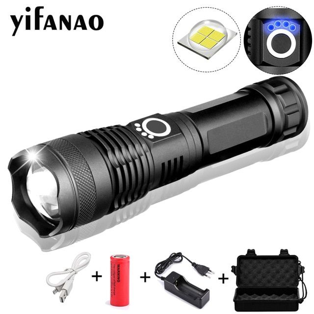 Tactical Zoom Rechargeable XH P50 LED Flashlight Torch Lamp Light Outdoor Hiking