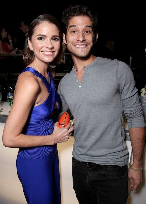 Shelley Hennig with Teen-Wolf co-star Tyler Posey at the People's Choice Awards after-party in January 2016...