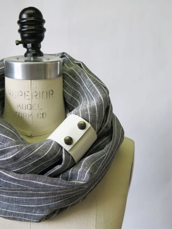 Chunky gray stripe linen circular infinity scarf by System63
