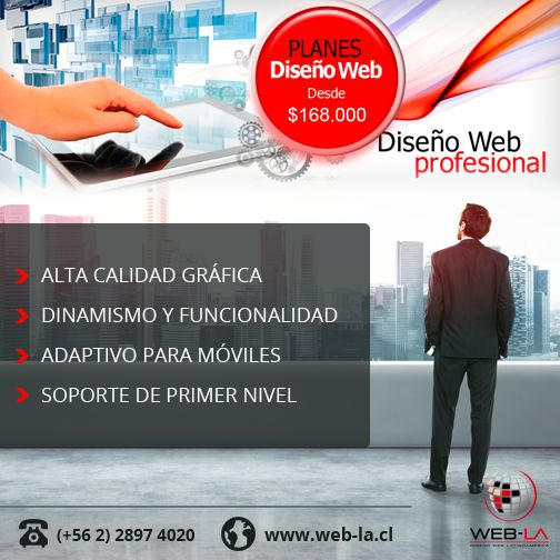 Diseño de Sitios Web   Somos pioneros en el diseño de páginas Web en Chile. Ofrecemos un servicio de alta calidad a los mejores precios del mercado.Ver planes y precios Desarrollamos Sitios Web con contenidos fijos y autoadministrables.Somos expertos en diseño de Tiendas...