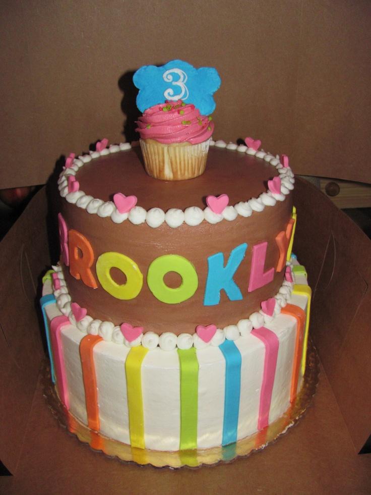 Rainbow Tiered Birthday Cake - Erin Miller Cakes - https://www.facebook.com/erinmillercakes
