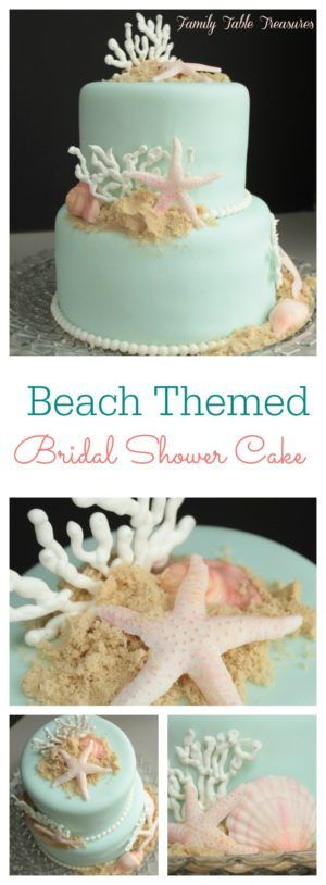 An elegant Seaside Wedding needs a cake that brings the beauty of the beach and ocean life to it. This Beach Themed Cake is adorned with fondant sea shells and starfish as well as coral made out of royal icing.