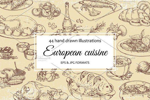 Big vector set: European cuisine by Goderuna on @creativemarket