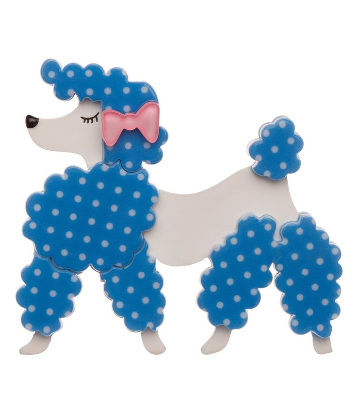 Erstwilder Blue Dotted & White Paige the Prancing Poodle Resin Brooch Pin