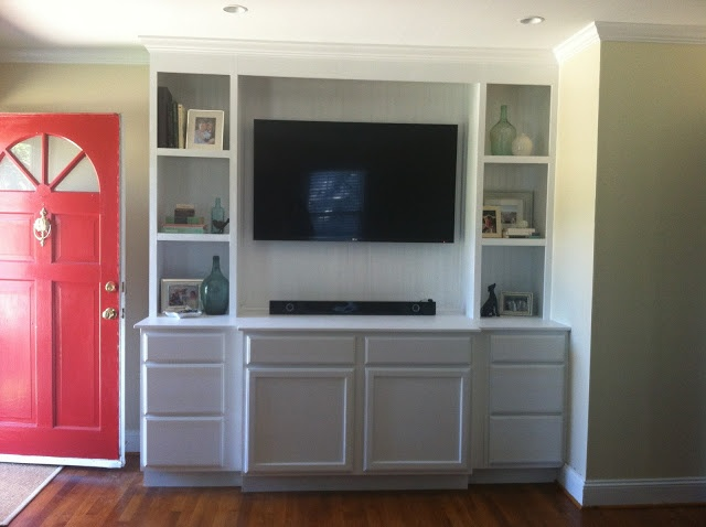 Built In Bookcase Using Unfinsidhed Base Cabinets From